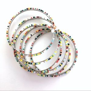 ⚛️ Rainbow bangle bracelets pony beads set of 6